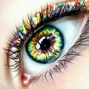 Eye with jewels and makeup